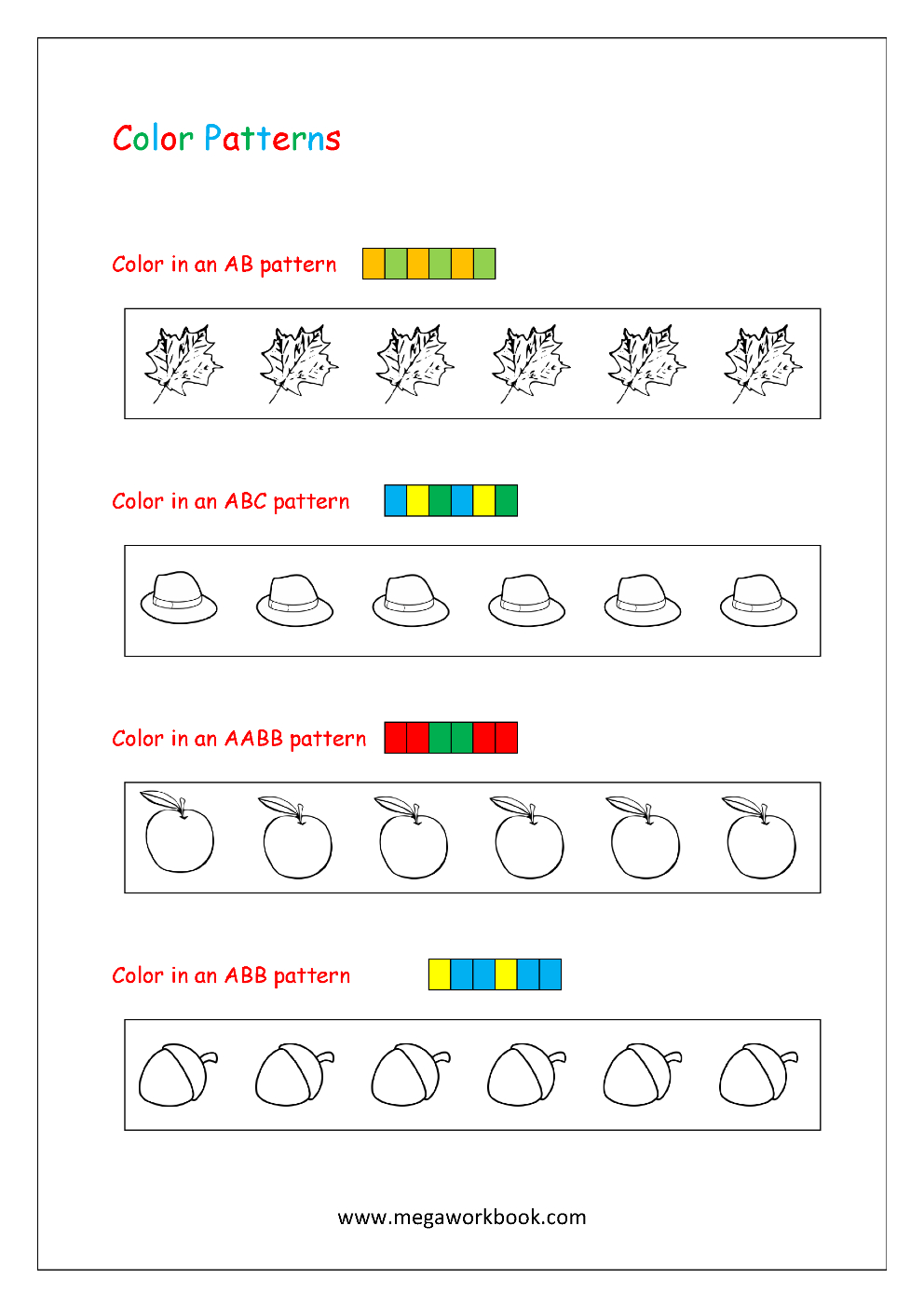 Free Printable Pattern Recognition Worksheets - Color Patterns | Free Printable Ab Pattern Worksheets