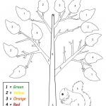 Free Printable Preschool Fall Themed Color By Number Worksheet | Printable Fall Worksheets