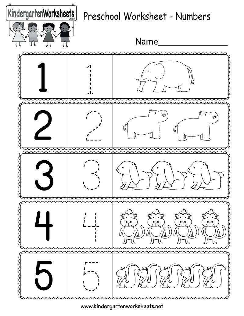 Free Printable Preschool Worksheet Using Numbers For Kindergarten | Free Printable Preschool Worksheets