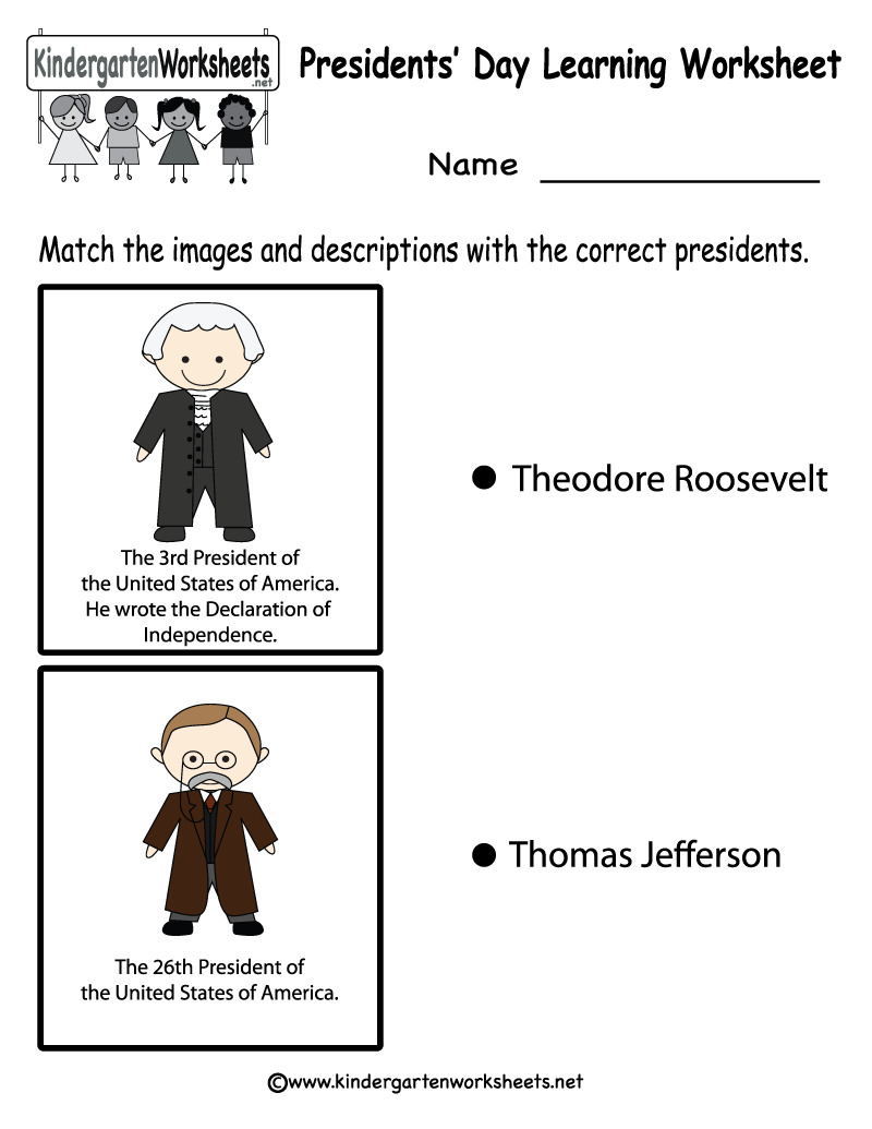 Free Printable Presidents' Day Learning Worksheet For Kindergarten | Free Printable Presidents Day Worksheets