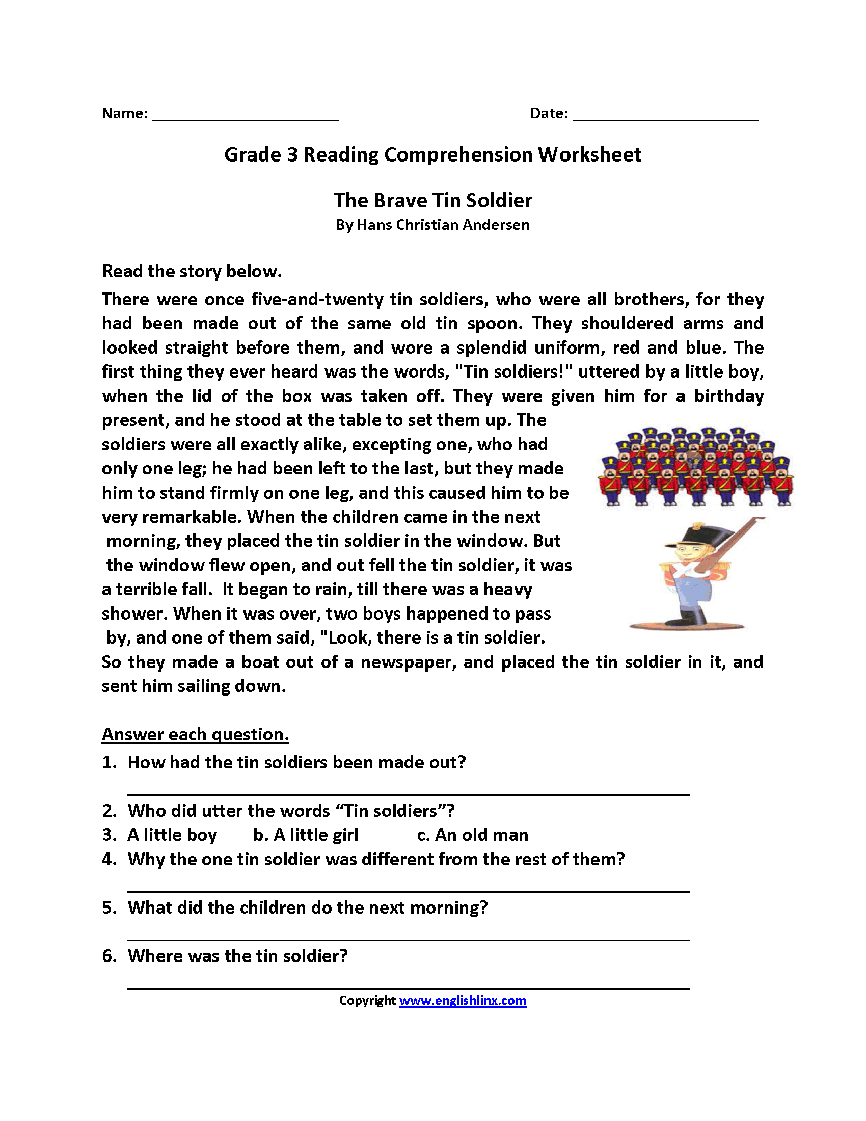 Free Printable Reading Comprehension Worksheets 3Rd Grade For Free | Third Grade Reading Worksheets Free Printable
