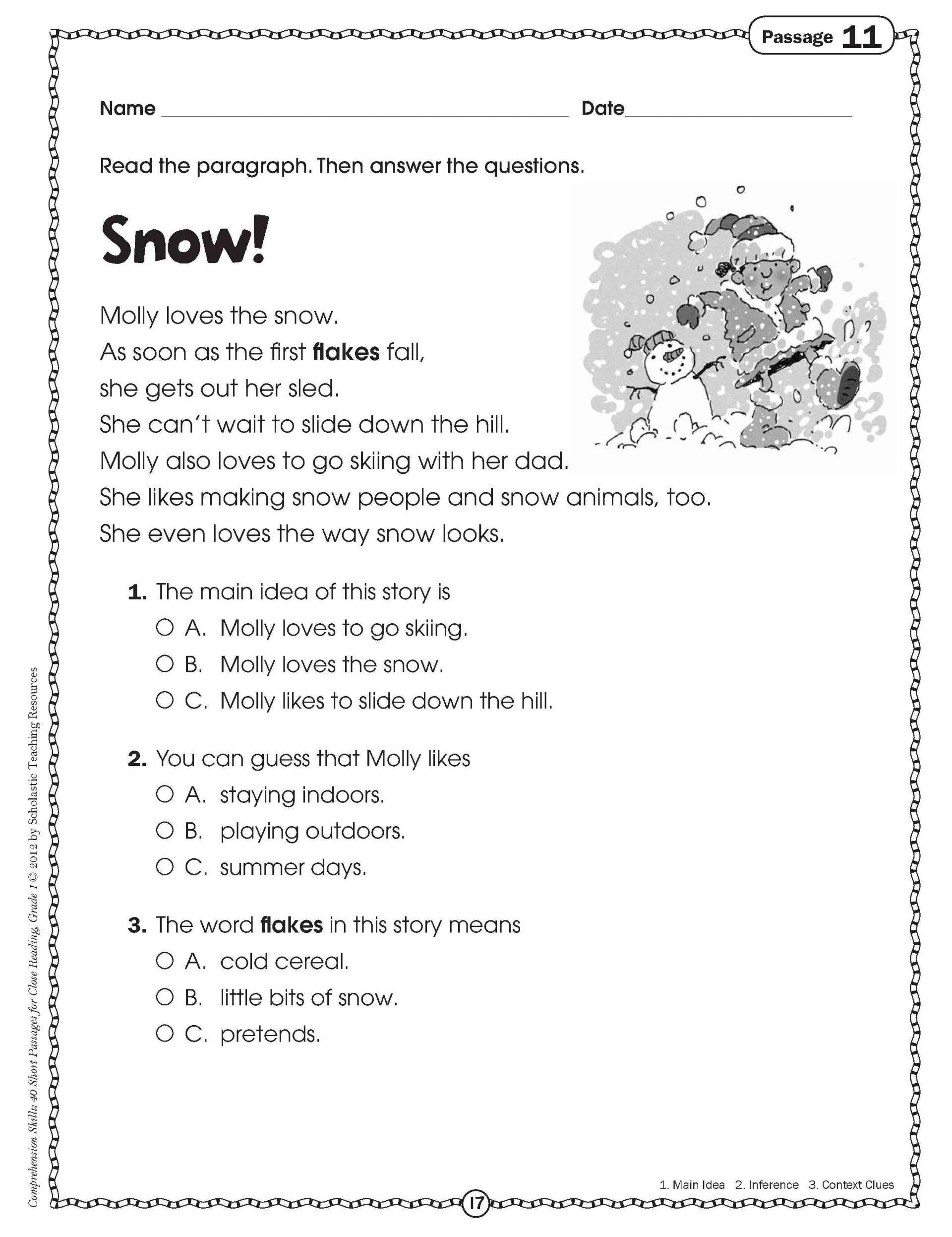 Free Printable Reading Comprehension Worksheets 3Rd Grade To - Free | Free Printable Grade 1 Reading Comprehension Worksheets