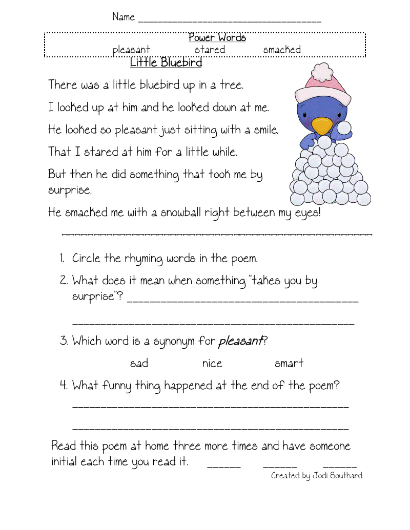 Free Printable Reading Comprehension Worksheets For Kindergarten | Free Printable Grade 1 Reading Comprehension Worksheets