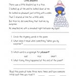 Free Printable Reading Comprehension Worksheets For Kindergarten | Free Printable Poetry Worksheets