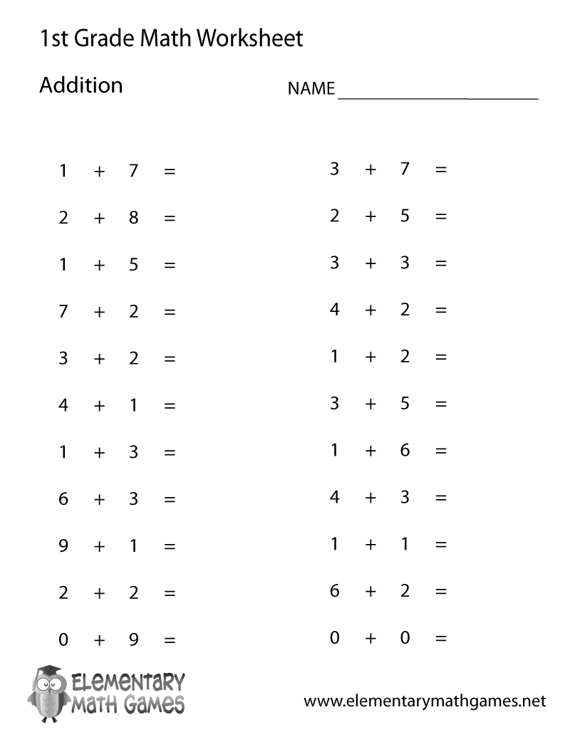 Free Printable Simple Addition Worksheet For First Grade | Free Printable Simple Math Worksheets