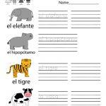 Free Printable Spanish Learning Worksheet For Kindergarten | Printable Spanish Worksheets