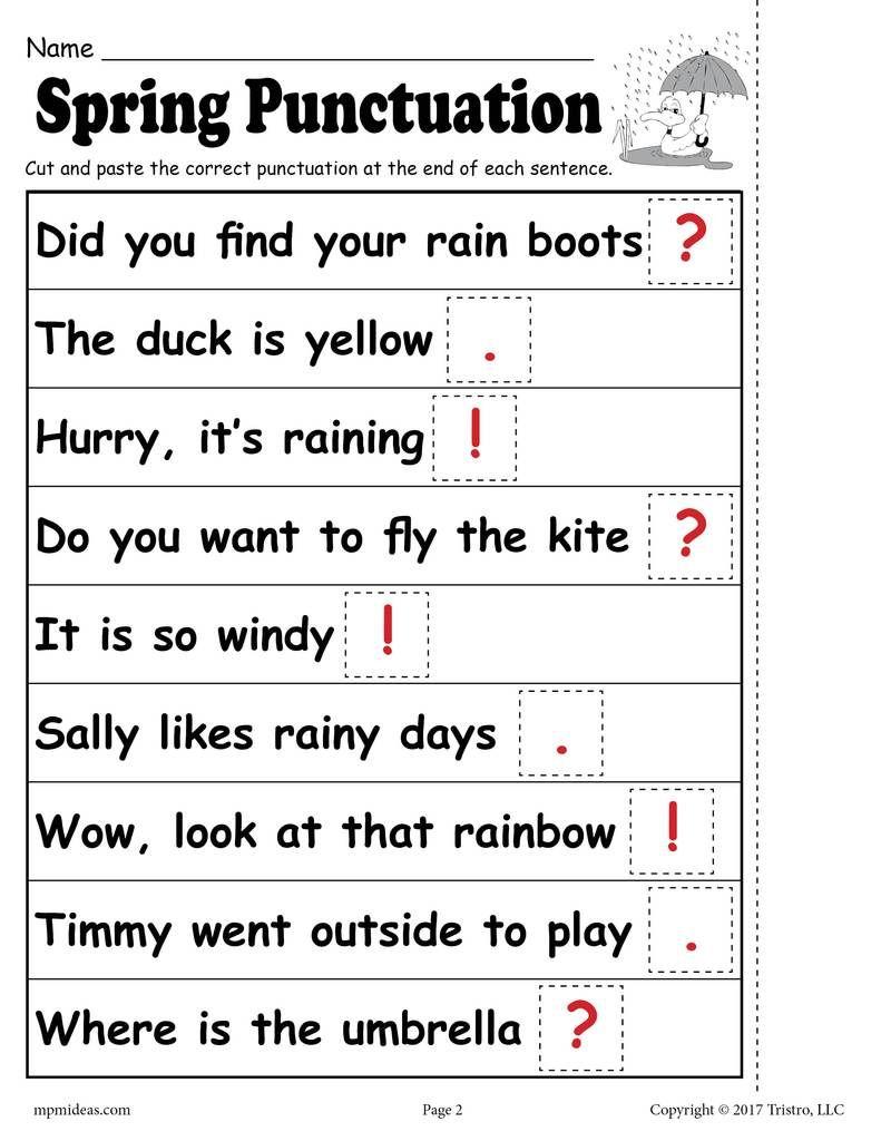 Free Printable Spring Punctuation Worksheet | Punctuation Worksheets | Free Printable Punctuation Worksheets For Grade 2