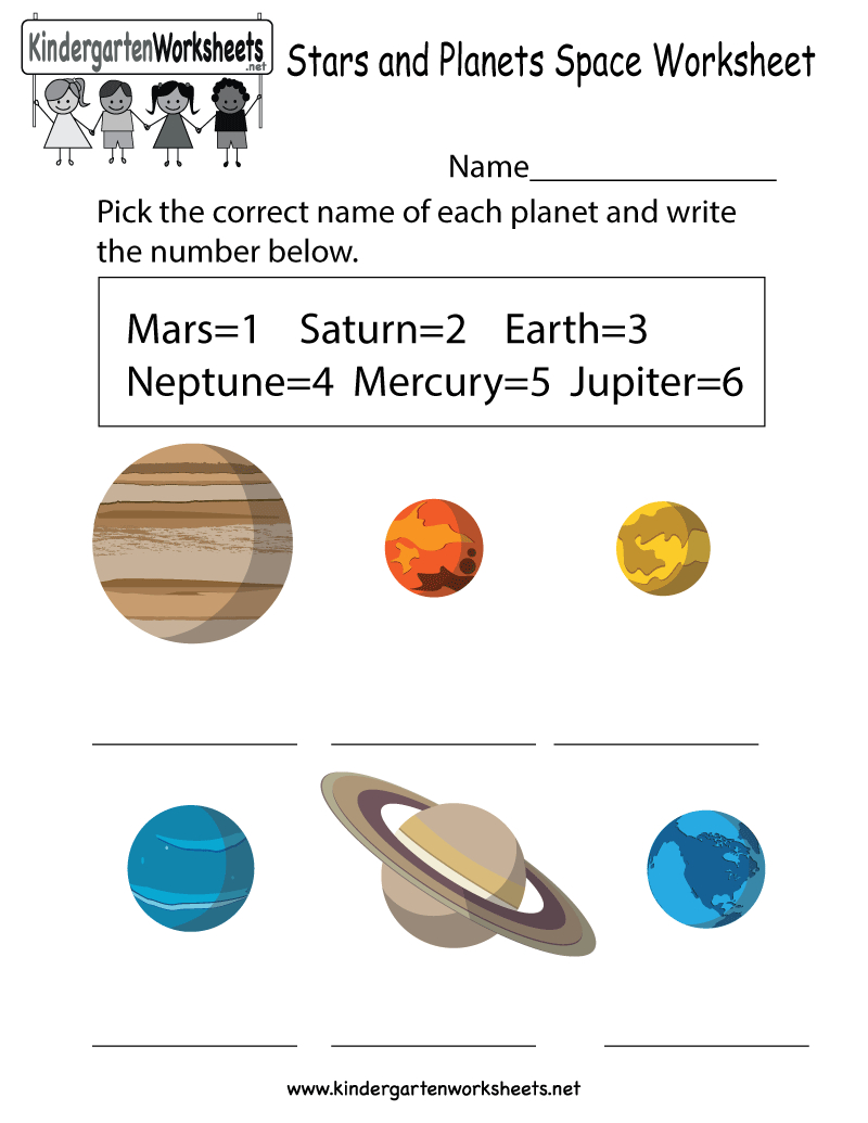 Free Printable Stars And Planets Space Worksheet For Kindergarten | Free Printable Space Worksheets