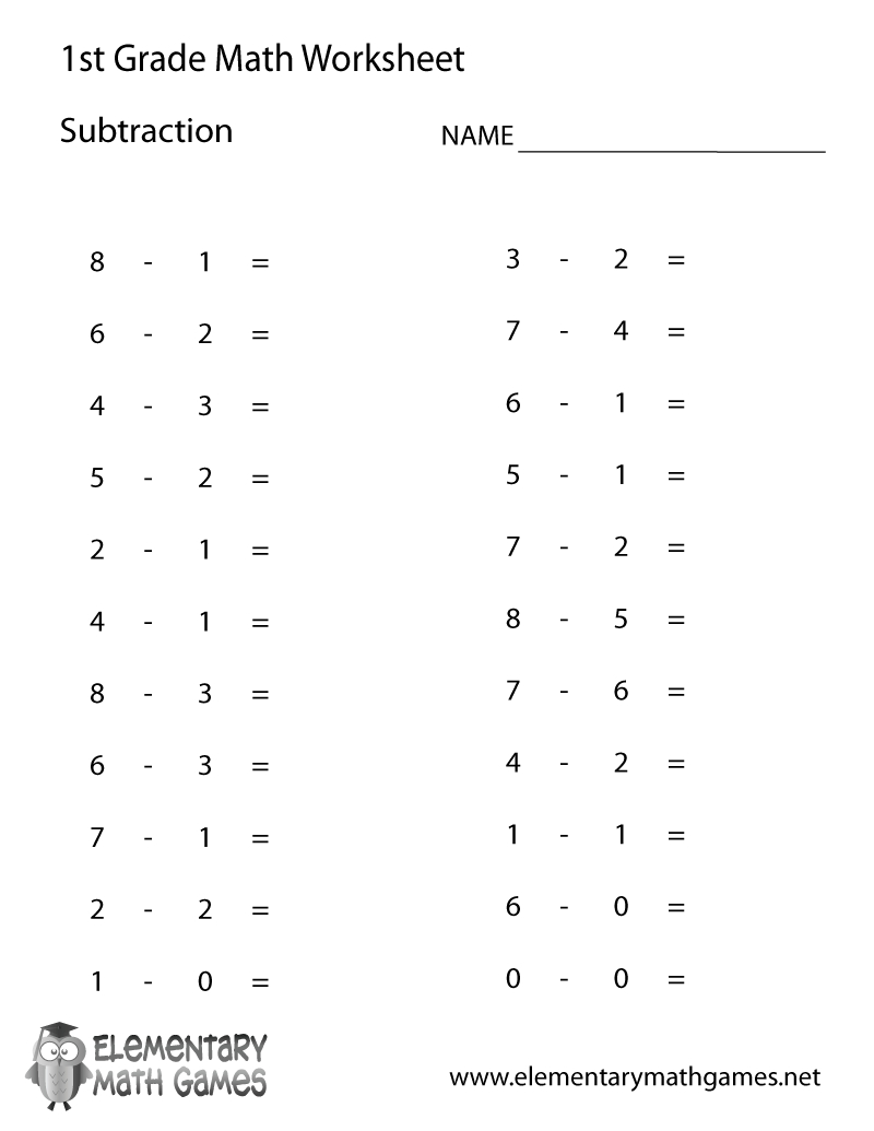 Free Printable Subtraction Worksheet For First Grade   First Grade Math Worksheets Printable