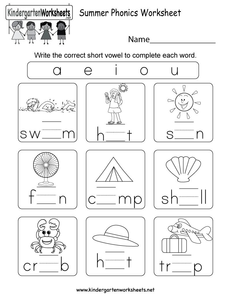 Free Printable Summer Phonics Worksheet For Kindergarten | Short A Printable Worksheets