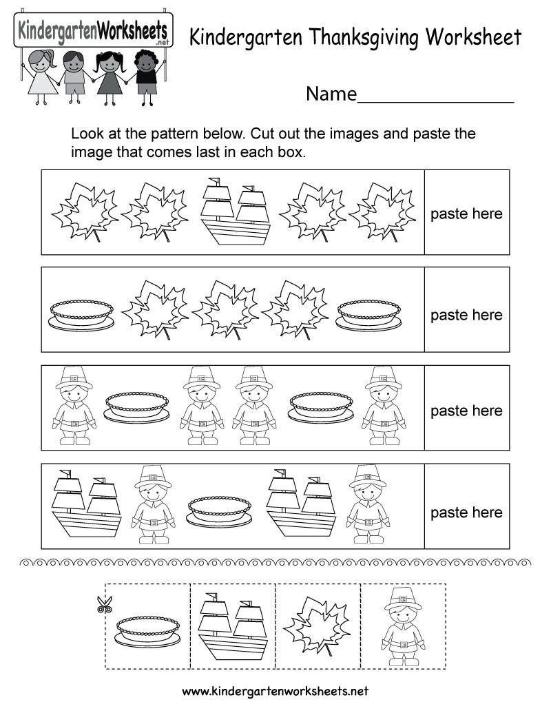 Free Printable Thanksgiving Worksheet For Kindergarten - Free   Free Printable Thanksgiving Worksheets