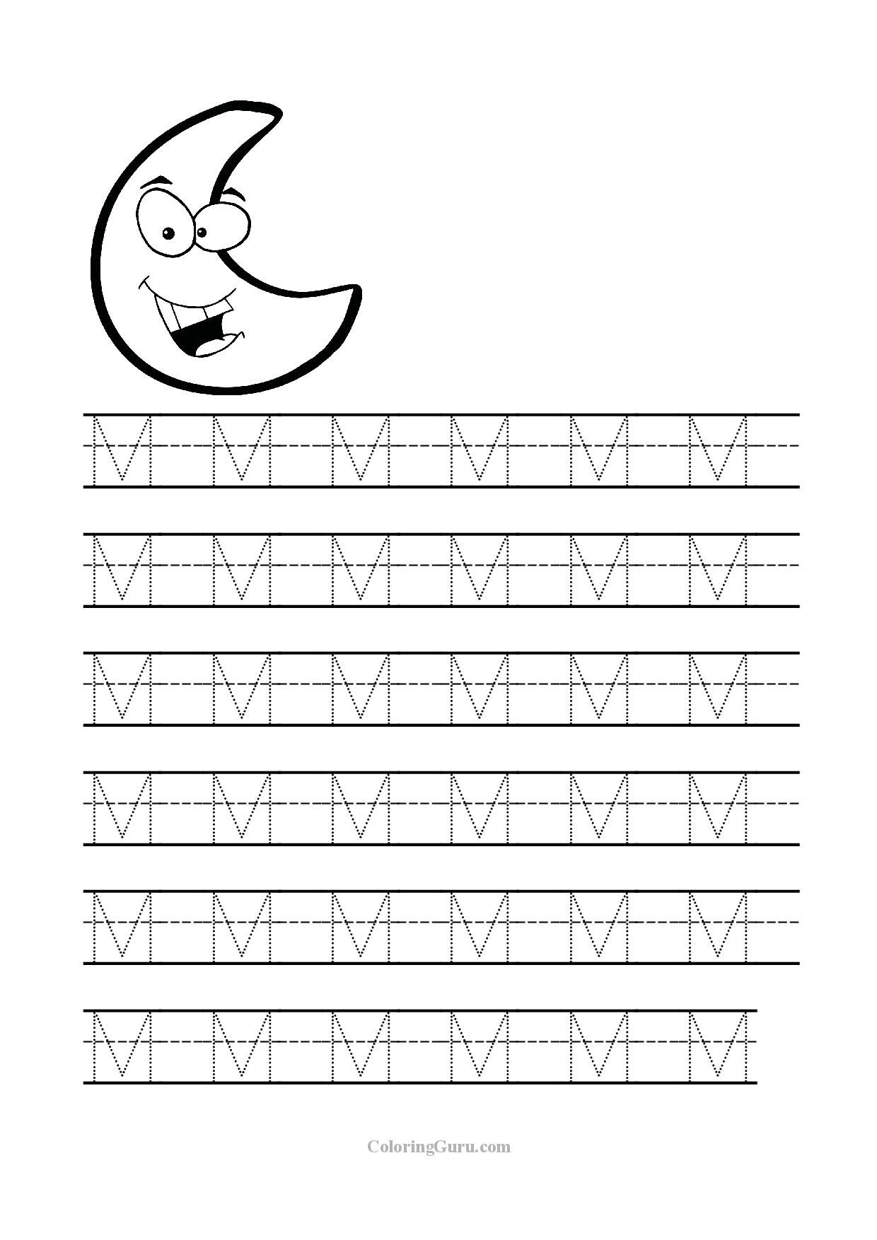 Free Printable Tracing Letter M Worksheets For Preschool | Sometimes | Free Printable Preschool Worksheets Tracing Letters