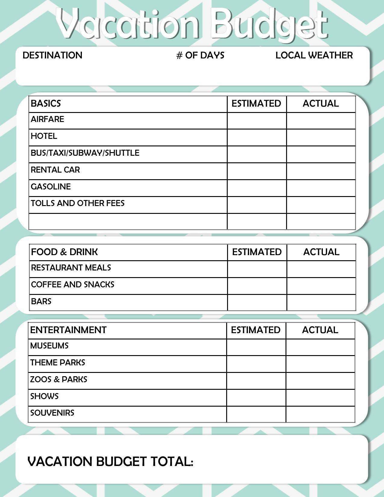 Free Printable: Vacation Travel Budget Worksheet | Diy / Did That | Vacation Budget Worksheet Printable