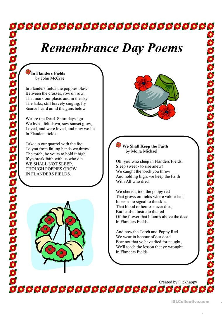 Free Printable Veterans Day Activities | Remembrance Day Poems | Memorial Day Free Printable Worksheets