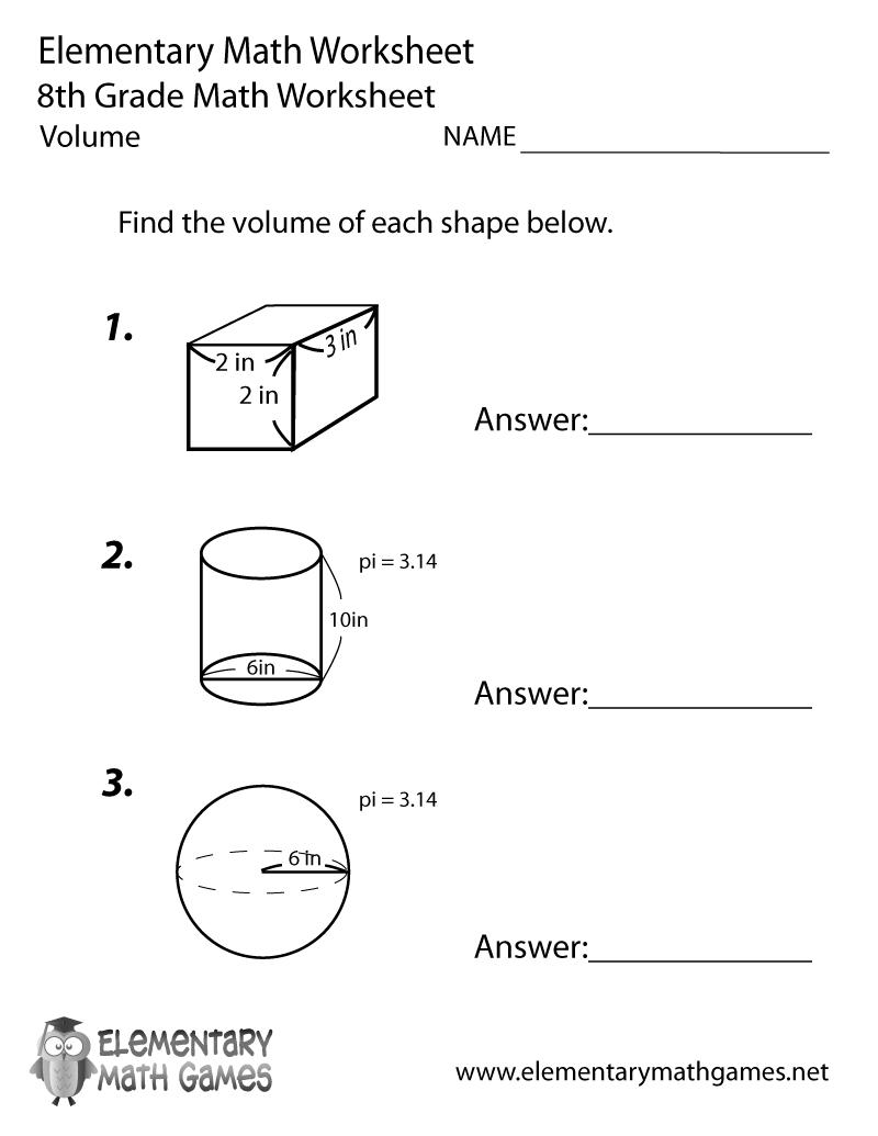 Free Printable Volume Worksheet For Eighth Grade | 8Th Grade Worksheets Printable Free