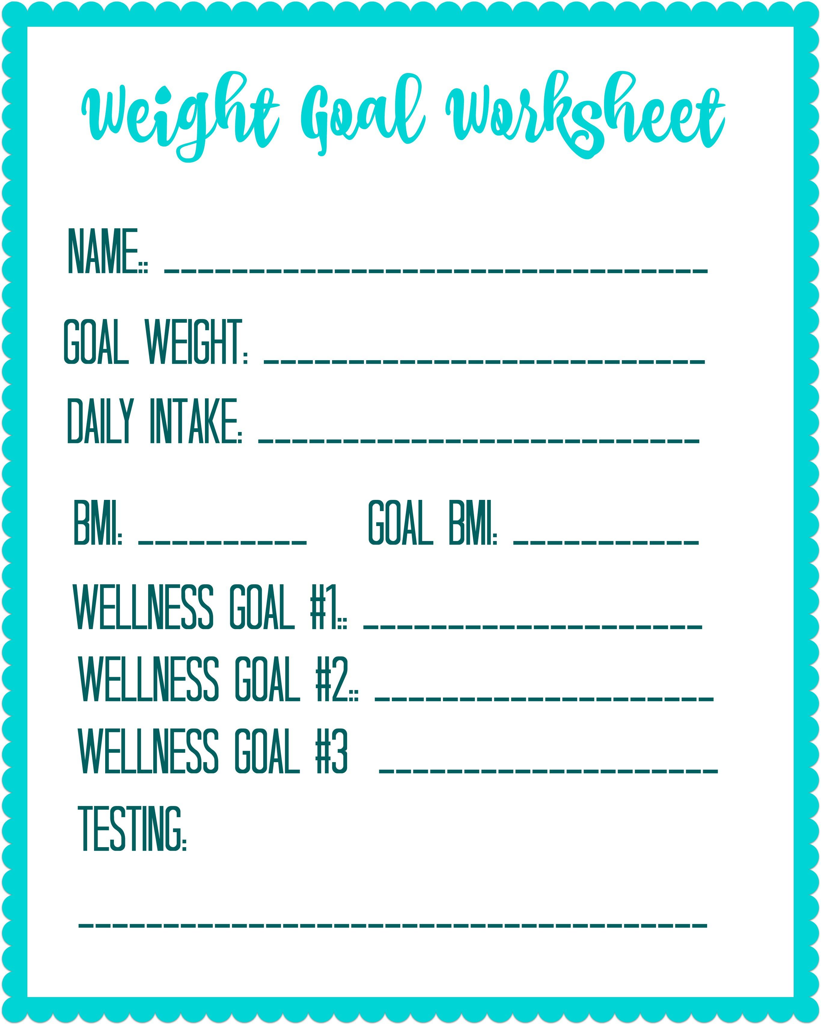 Free Printable Weight Loss Goal Worksheet - Debt Free Spending | Free Printable Calorie Counter Worksheet