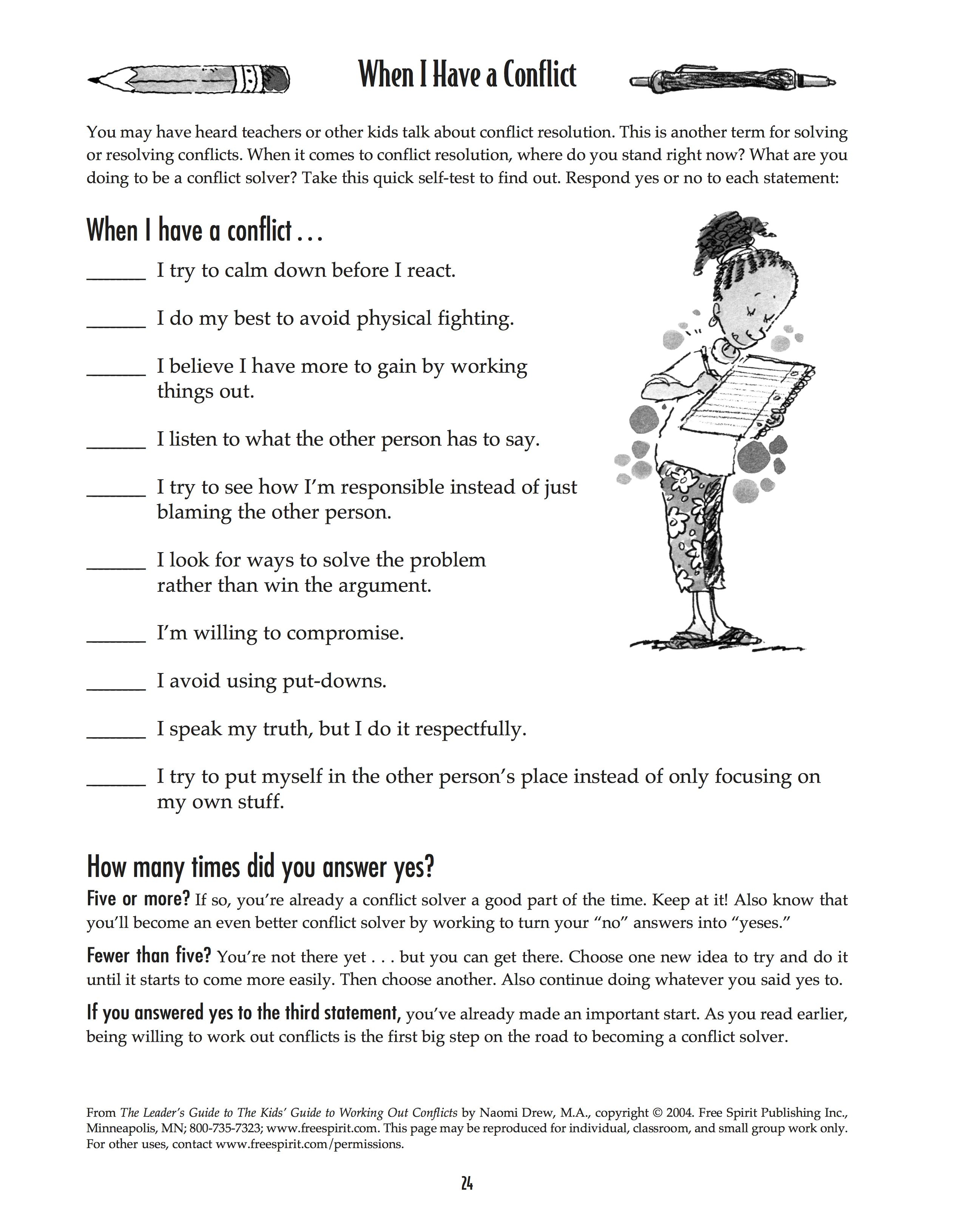 Free Printable Worksheet: When I Have A Conflict. A Quick Self-Test | Free Printable Worksheets For Elementary Students