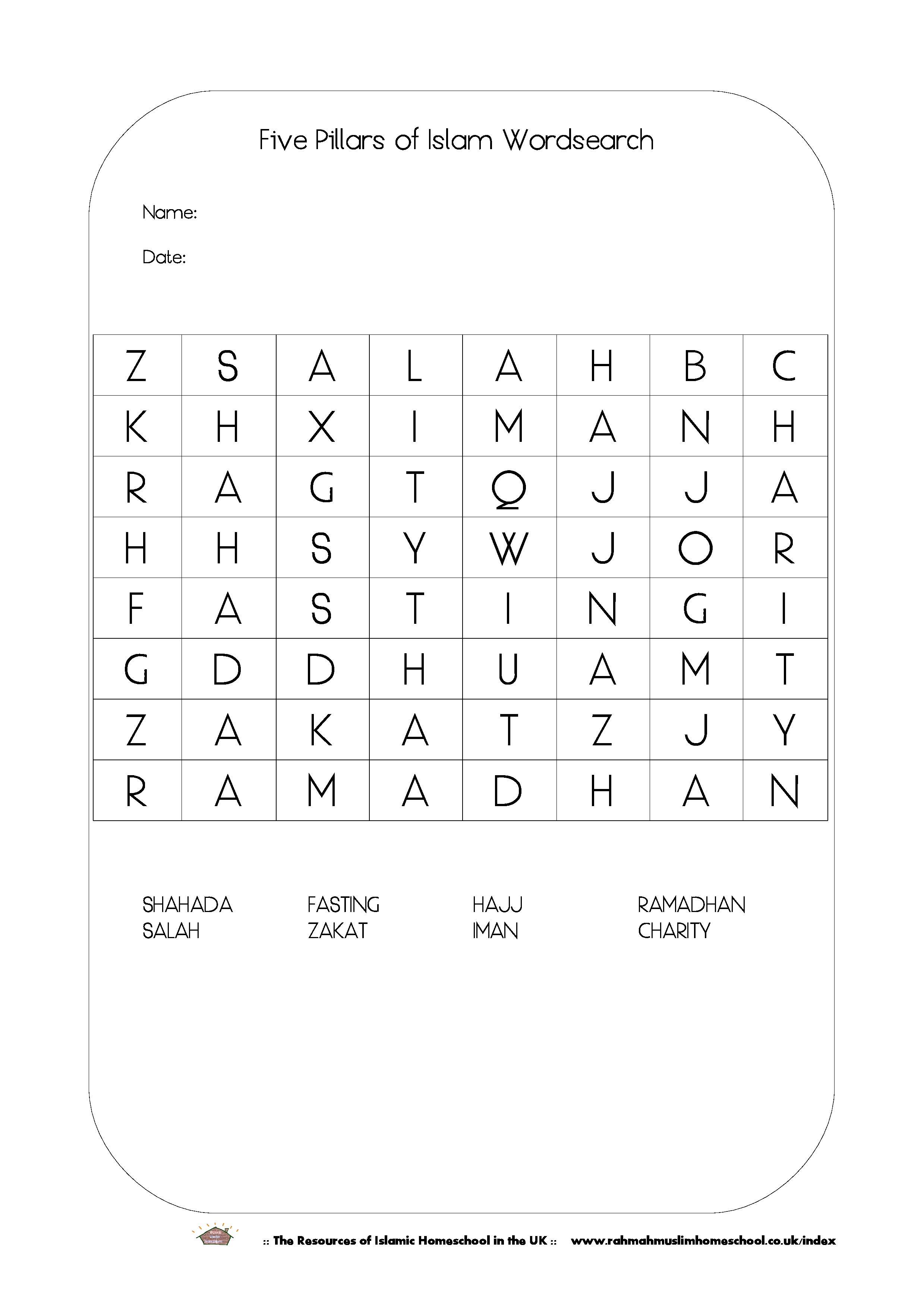 Free Ramadhan Activities; The Five Pillars Of Islam Wordsearch | The | Islamic Printable Worksheets