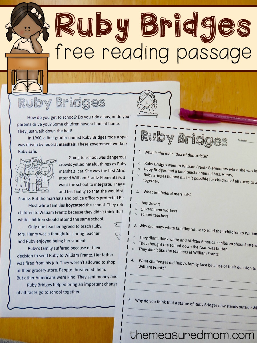 Free Reading Comprehension Passage: A Ruby Bridges Worksheet - The | Ruby Bridges Printable Worksheets