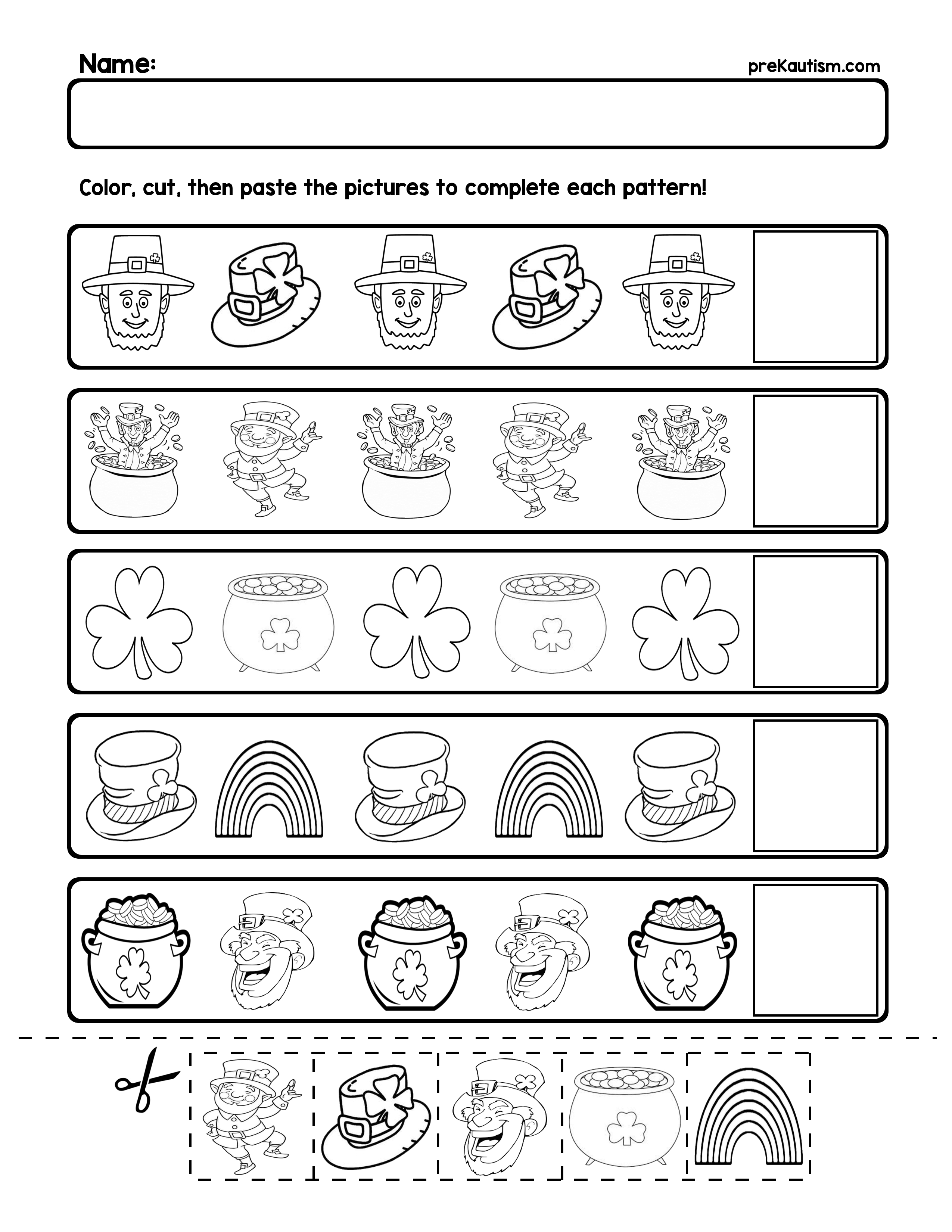 Free St. Patrick's Day Pattern Worksheets | My Tpt Store | Pattern | Free Printable Ab Pattern Worksheets