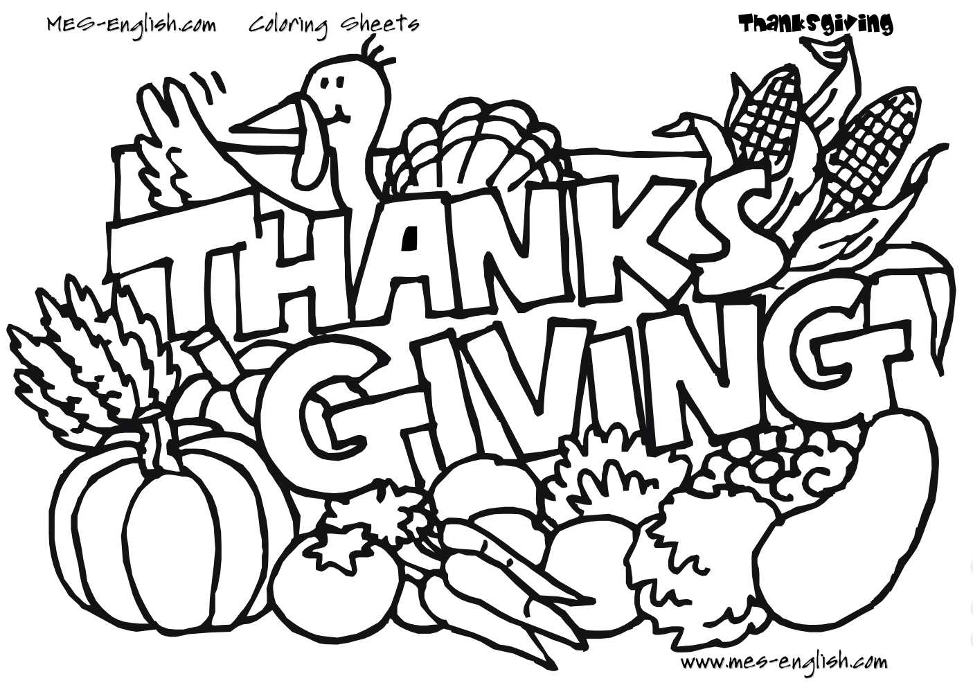 Free Thanksgiving Coloring Pages For Kids - Free Printable | Free Printable Thanksgiving Coloring Pages Worksheets
