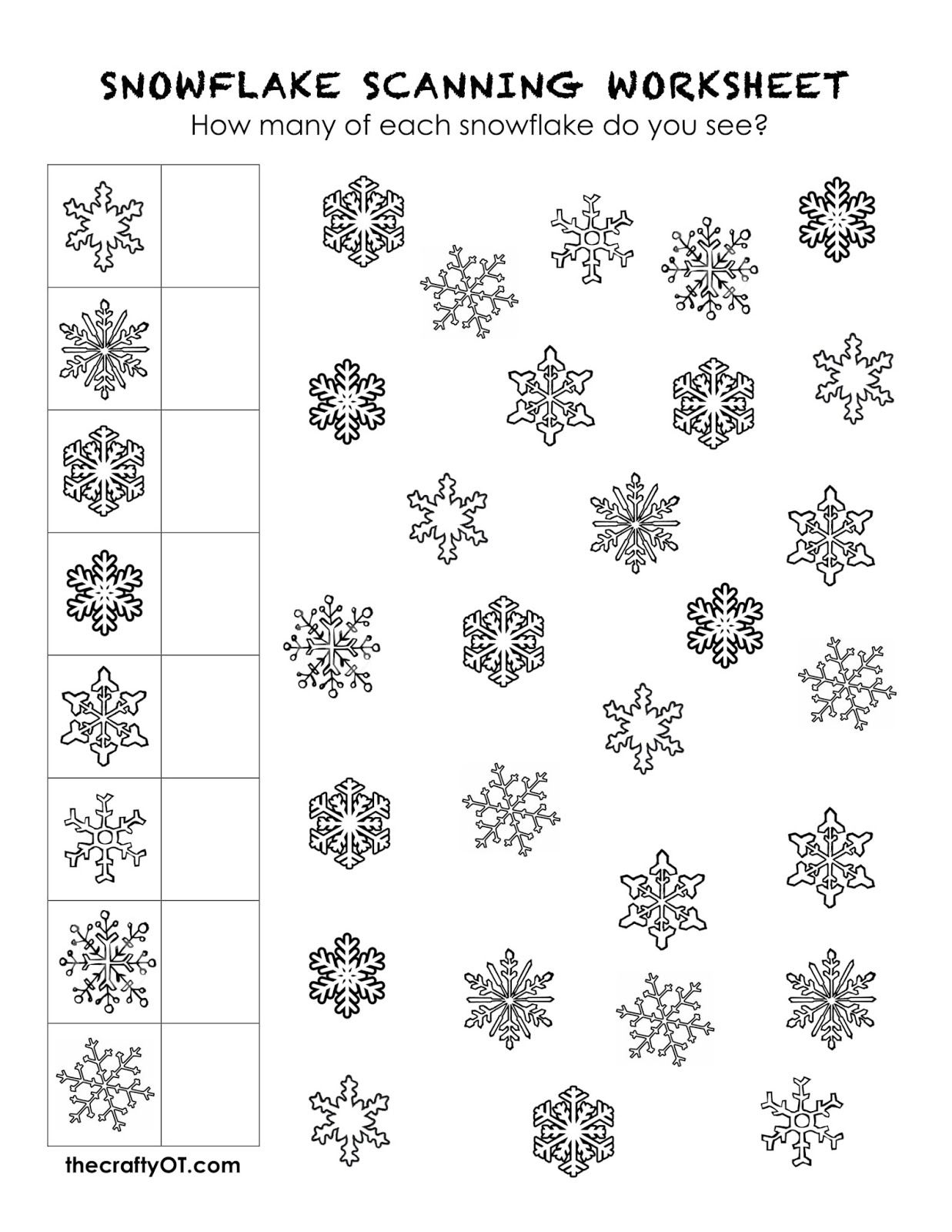 Free Winter Worksheets | Occupational Therapy | Occupational Therapy | Printable Visual Scanning Worksheets For Adults