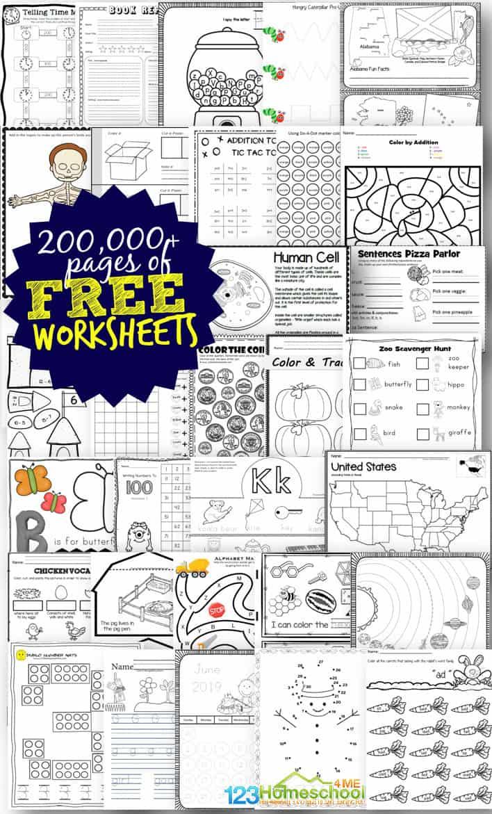Free Worksheets - 200,000+ For Prek-6Th   123 Homeschool 4 Me   Printable School Worksheets For 4Th Graders