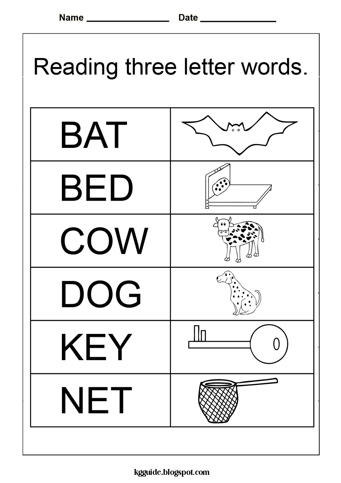 Free Worksheets For Kindergarten Three Letter Words With Preschool | Free Printable Ay Word Family Worksheets