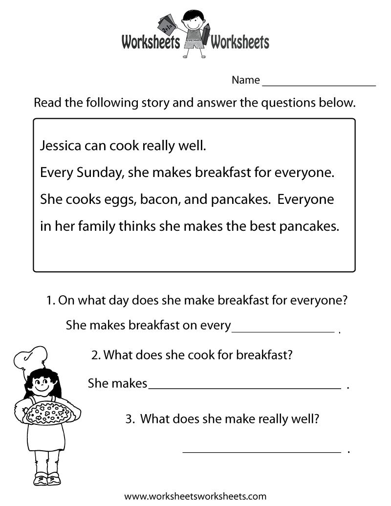 Freeeducation/worksheets For Second Grade    Comprehension   Second Grade Reading Comprehension Printable Worksheets
