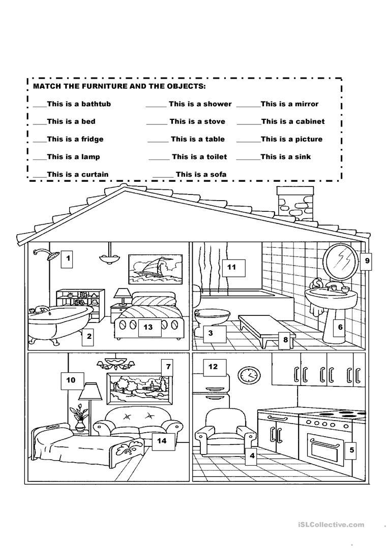 Furniture In The House Worksheet - Free Esl Printable Worksheets | Home Worksheets Printables