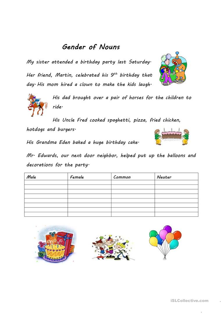 Gender Of Nouns Worksheet - Free Esl Printable Worksheets Made | Free Printable Worksheets On Genders