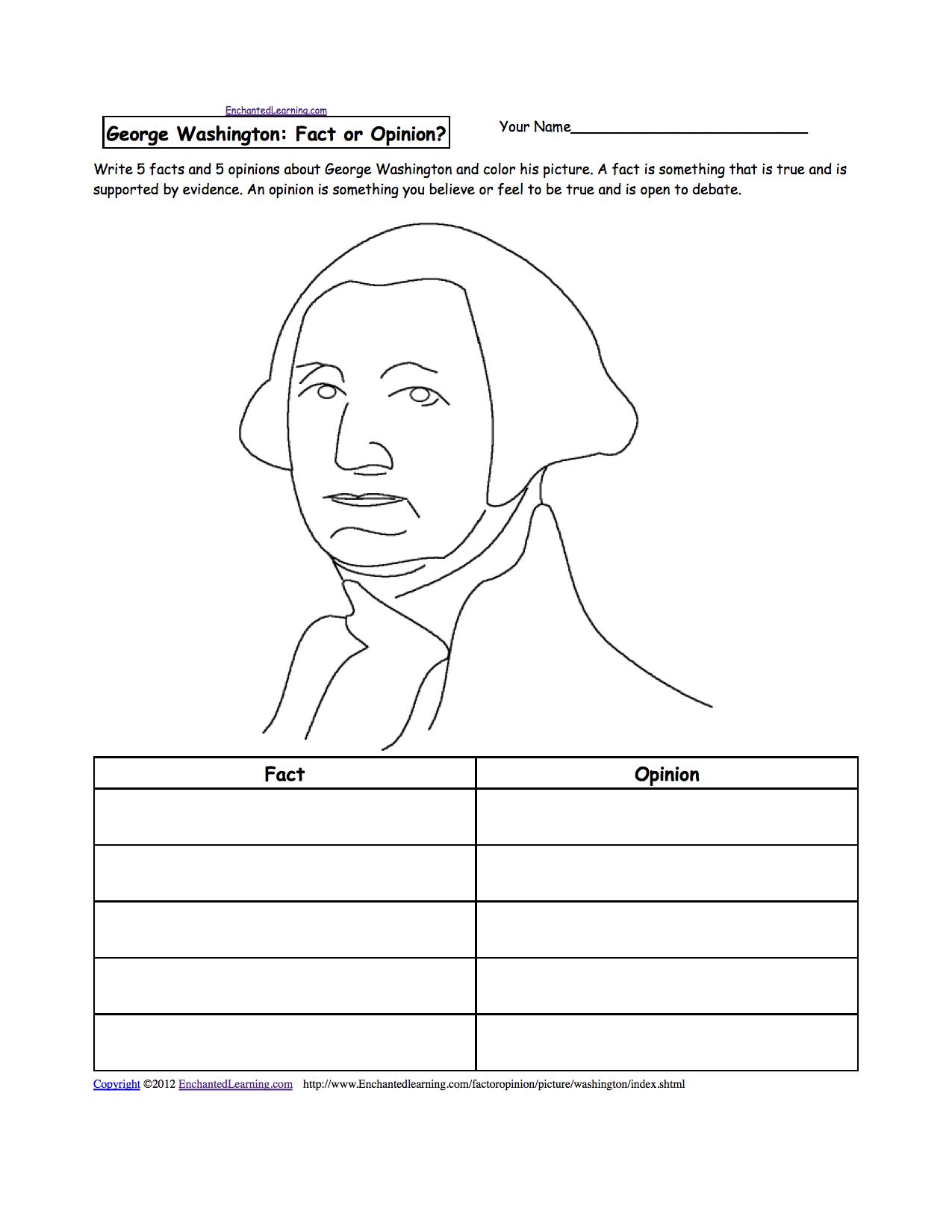George Washington - Enchantedlearning | Free Printable George Washington Worksheets
