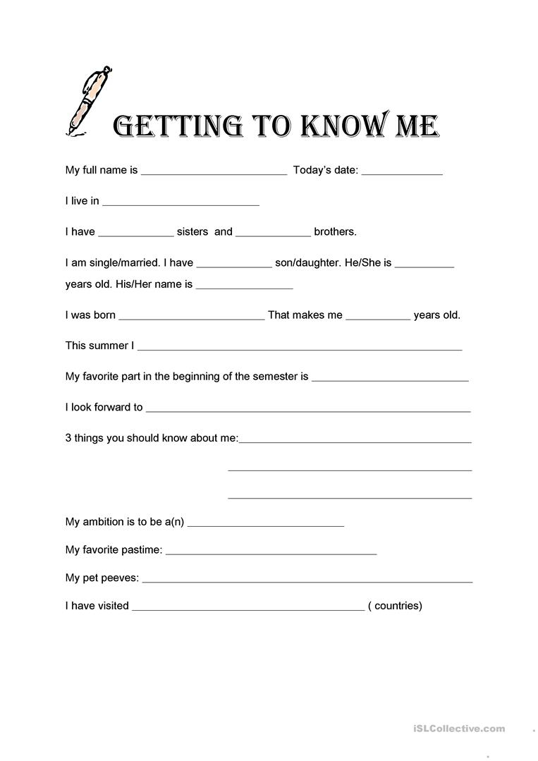 Getting To Know Me Worksheet - Free Esl Printable Worksheets Made | Printable Getting To Know You Worksheets