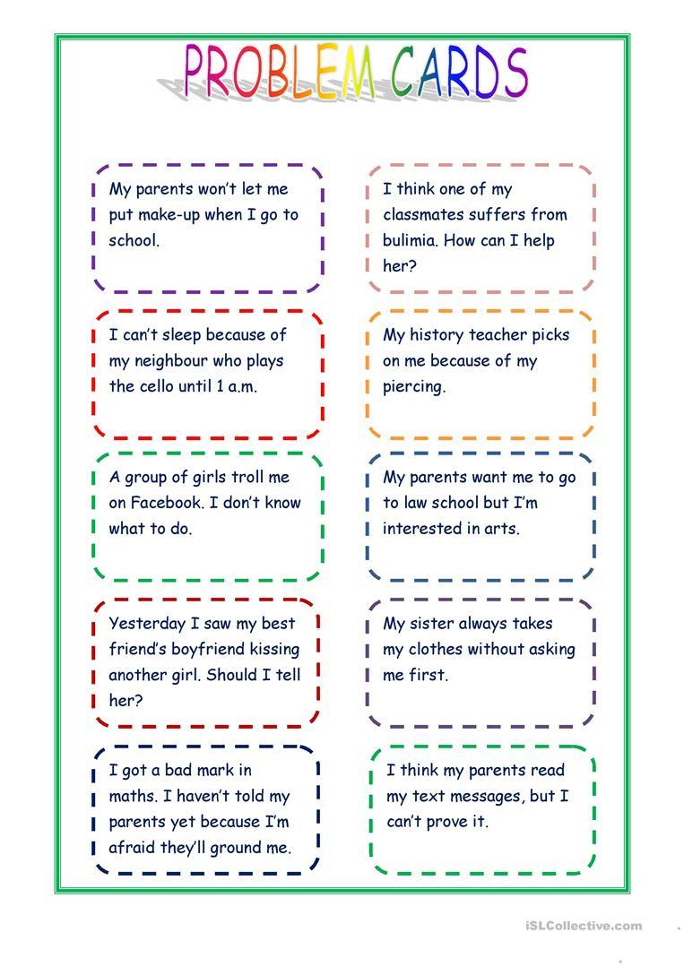 Giving Advice - Problem Cards Worksheet - Free Esl Printable | Giving Advice Printable Worksheets