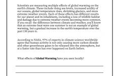 Climate Change Printable Worksheets
