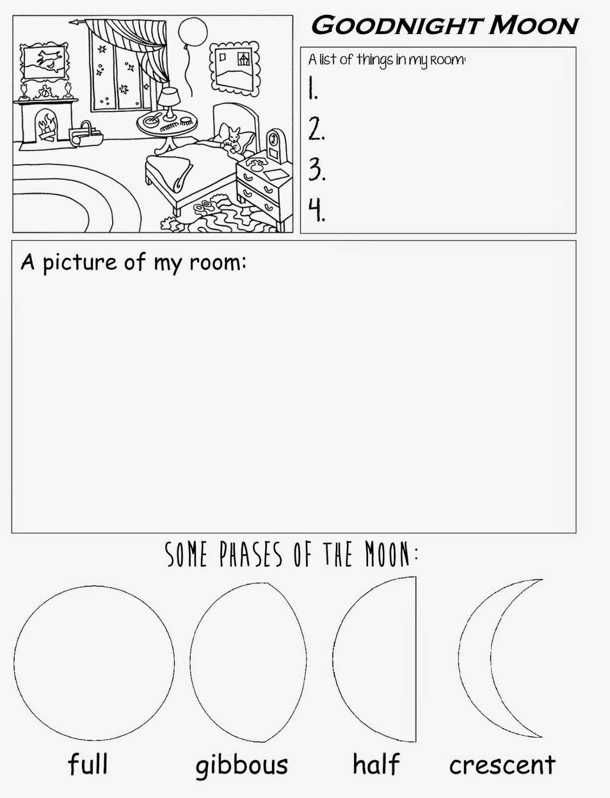 Goodnight Moon Free Printable Worksheet For Preschool Kindergarten | Free Printable Homework Worksheets