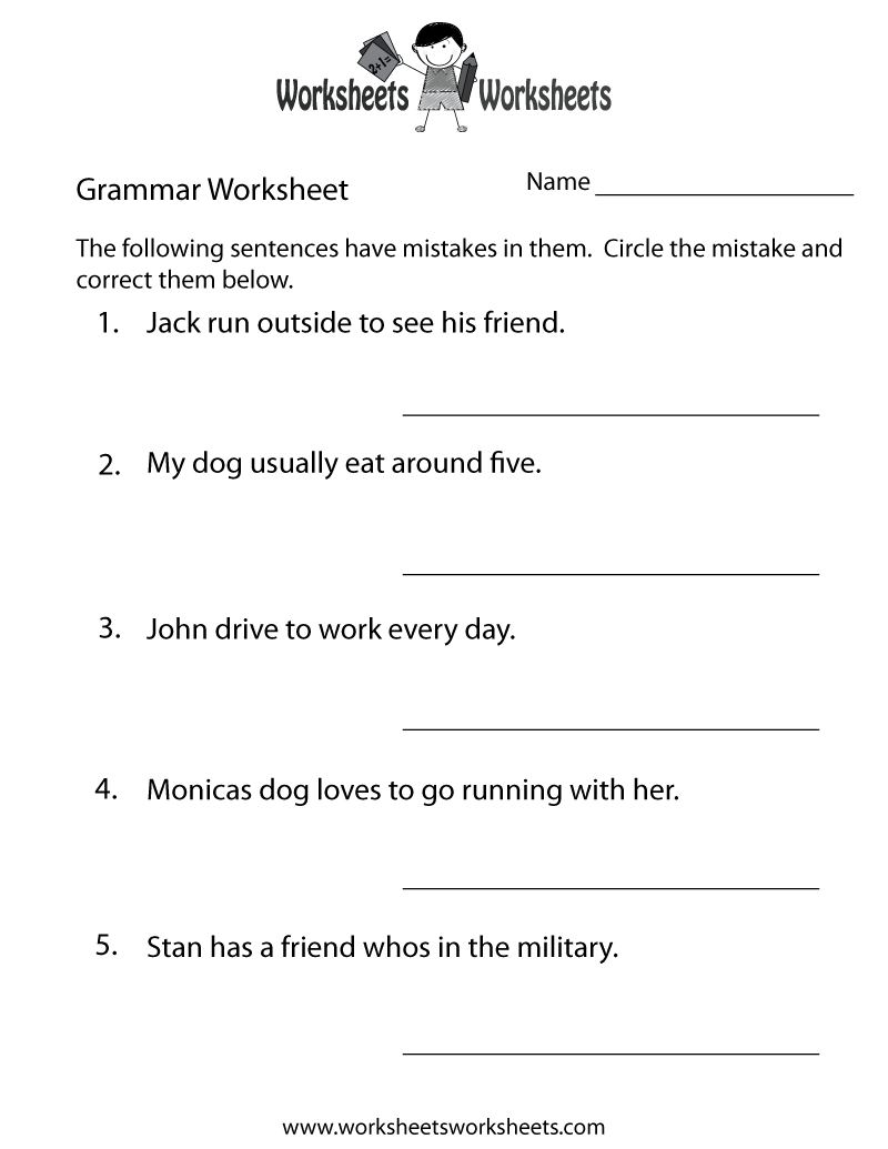 Grammar Practice Worksheet Printable | Grammar Worksheets | Grammar | Grammar Worksheets High School Printables
