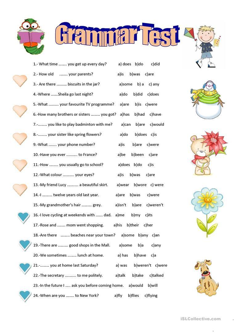 Grammar Test Worksheet - Free Esl Printable Worksheets Made - Free | Test Worksheets Printable