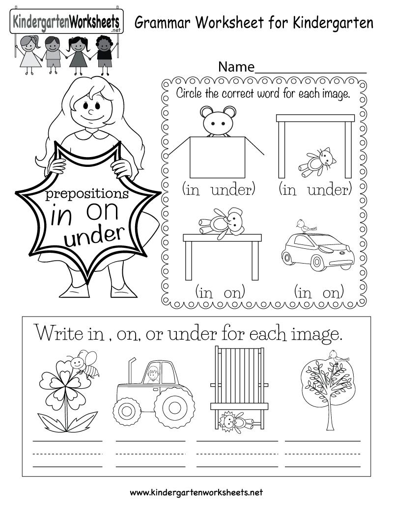 Grammar Worksheet - Free Kindergarten English Worksheet For Kids   Kindergarten Ela Printable Worksheets