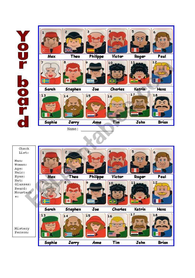 Guess Who Board Game - Esl Worksheetportugal | Guess Who Printable Worksheets