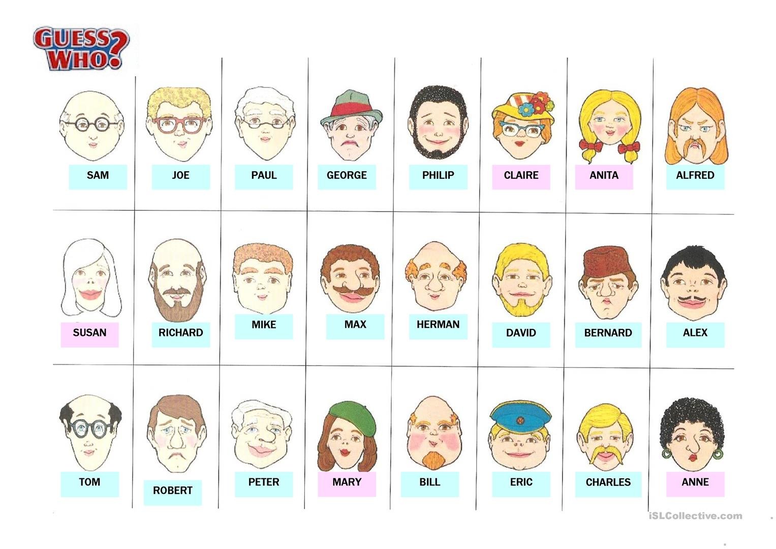 Guess Who Worksheet - Free Esl Printable Worksheets Madeteachers | Guess Who Printable Worksheets