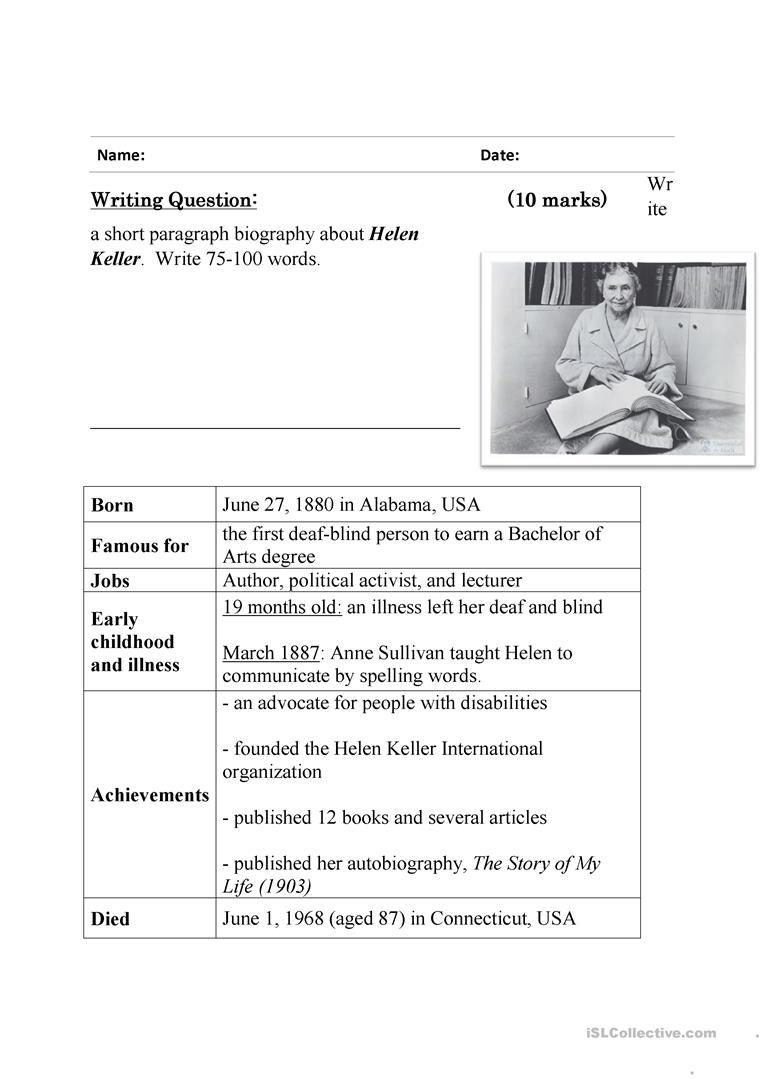 Guided Writing - Writing A Biography ( Helen Keller) Worksheet | Printable Biography Worksheets
