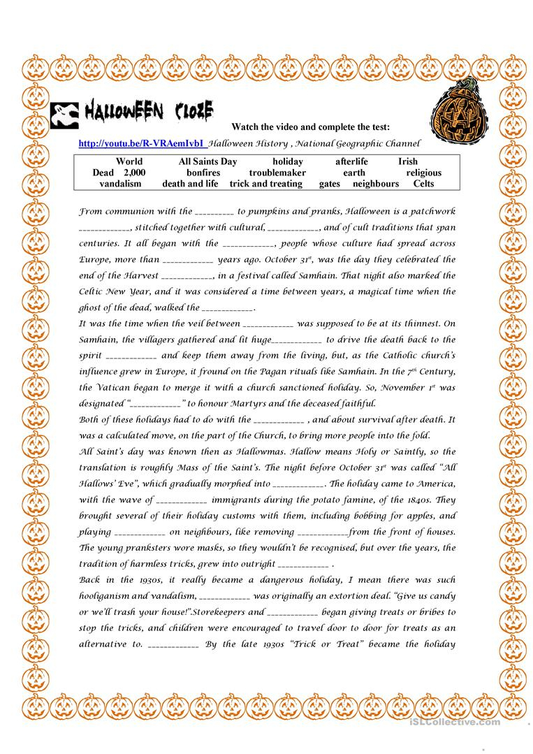 Halloween History Worksheet - Free Esl Printable Worksheets Made | World History Printable Worksheets