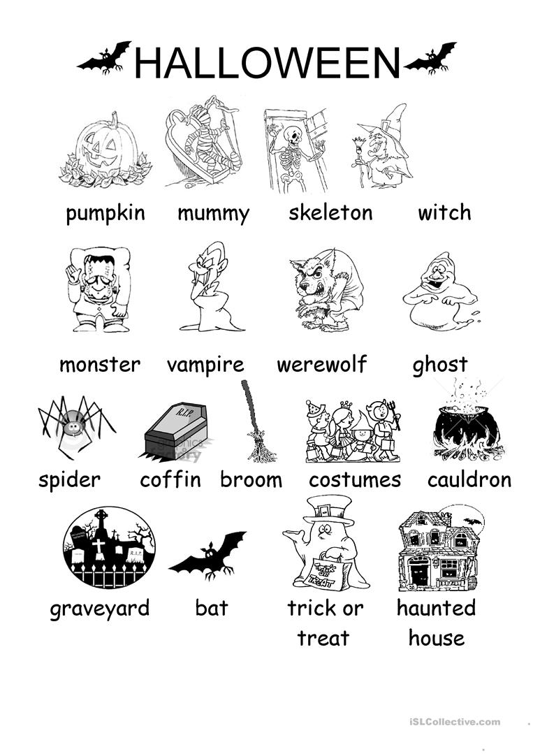 Halloween Vocabulary Printables | Halloween Arts - Free Printable | Free Printable Halloween Worksheets