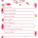 Handmade Gift For Mom   My Mom Printable Page – Morning Motivated Mom | Are You My Mother Printable Worksheets
