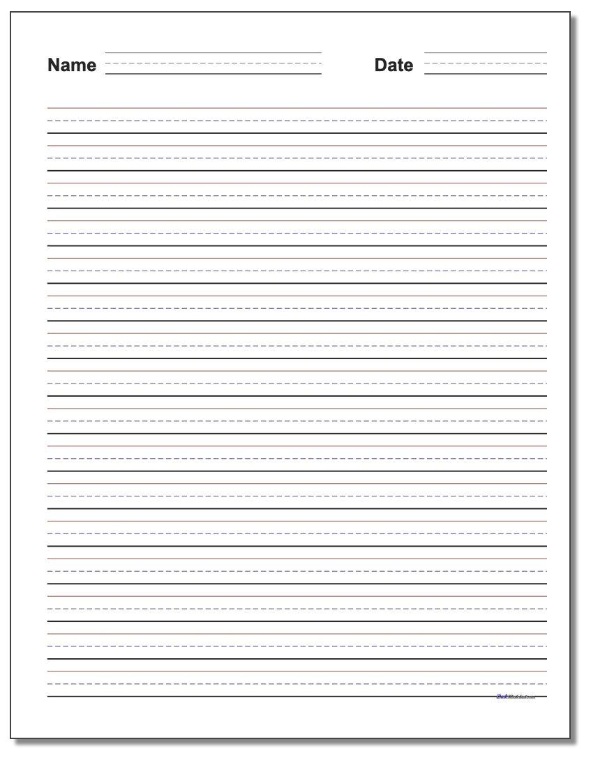 Handwriting Paper | Blank Handwriting Worksheets Printable Free