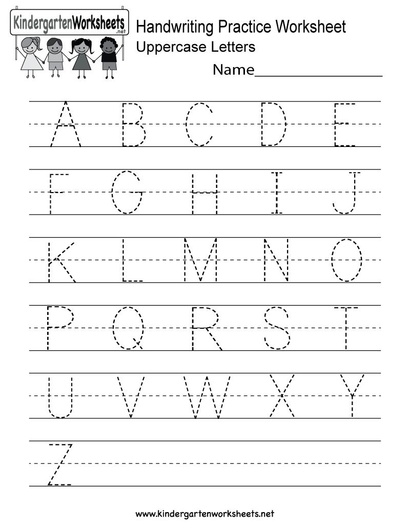 Handwriting Practice Worksheet - Free Kindergarten English Worksheet | Alphabet Practice Worksheets Printable