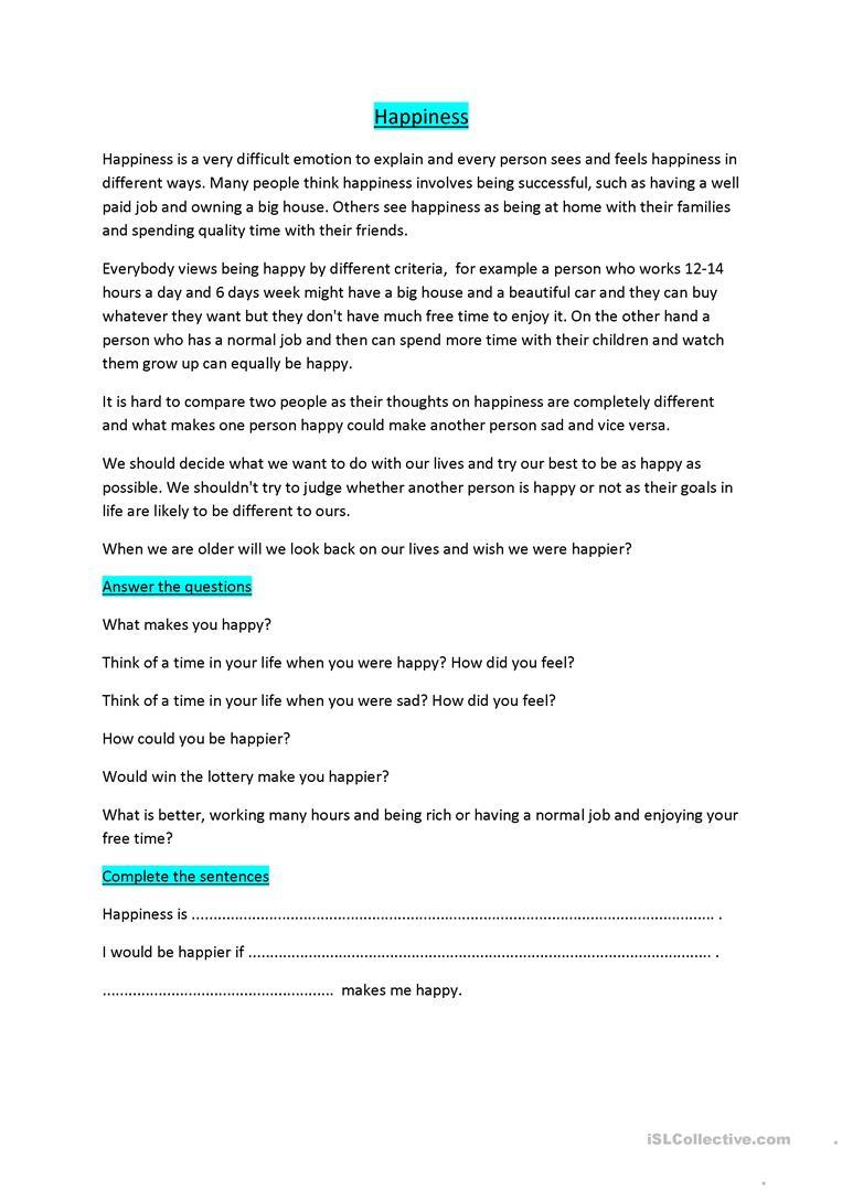 Happiness Worksheet - Free Esl Printable Worksheets Madeteachers   Happiness Printable Worksheets