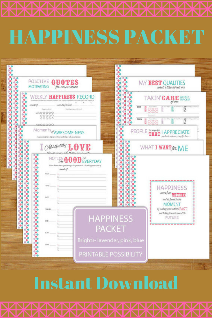 Happiness Worksheet Printables - Brights - 12 Pages - 8.5X11 Inch   Happiness Printable Worksheets