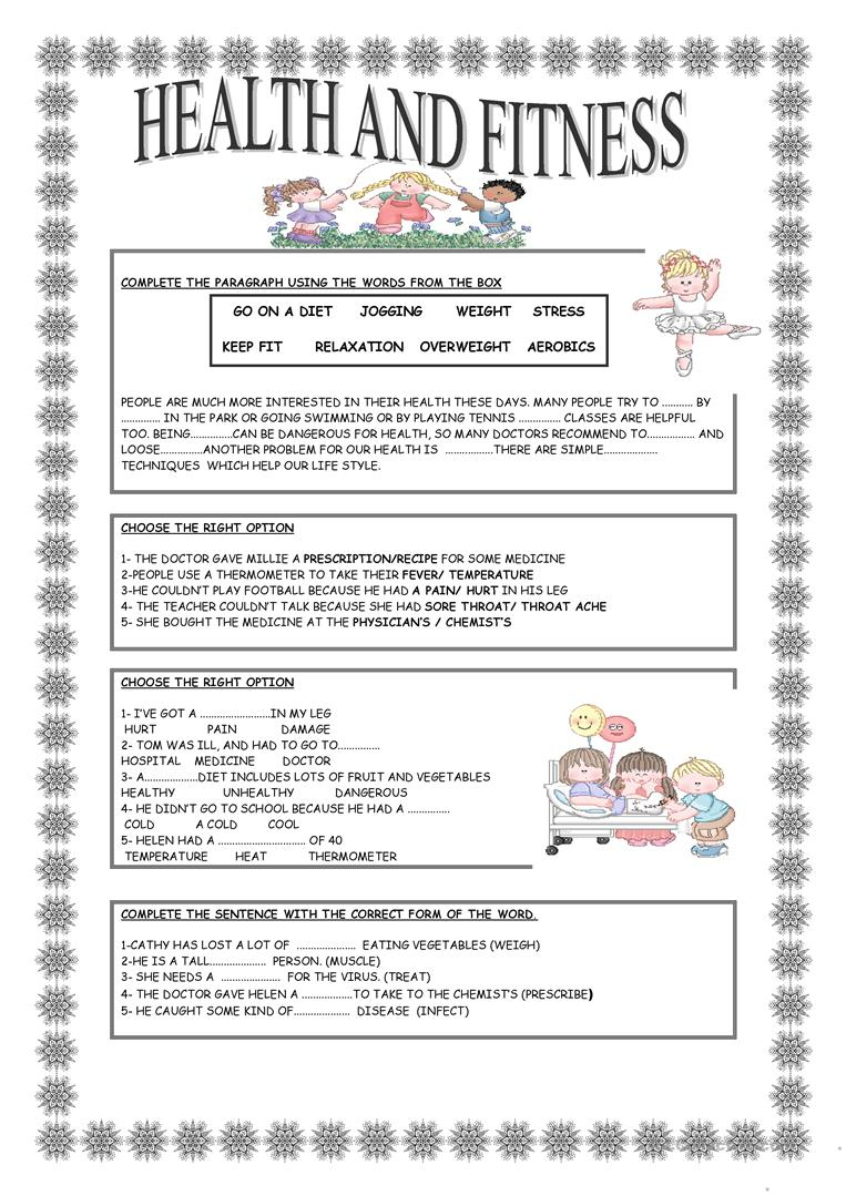Health And Fitness Worksheet - Free Esl Printable Worksheets Made | Free Printable Fitness Worksheets